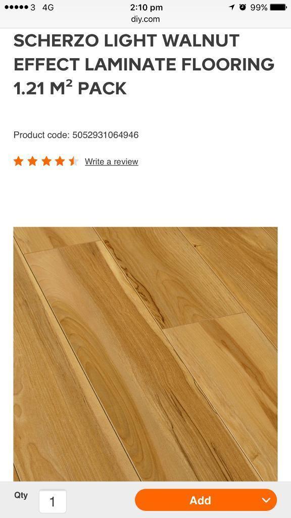 23 Packs Of Scherzo Light Walnut Effect Gloss Flooring In