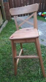 2 toddler oak chairs fireplace Queen Anne chair