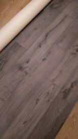 DARK GRAY WOOD EFFECT VINYL FLOORING 1.80 M X 2M BRAND NEW
