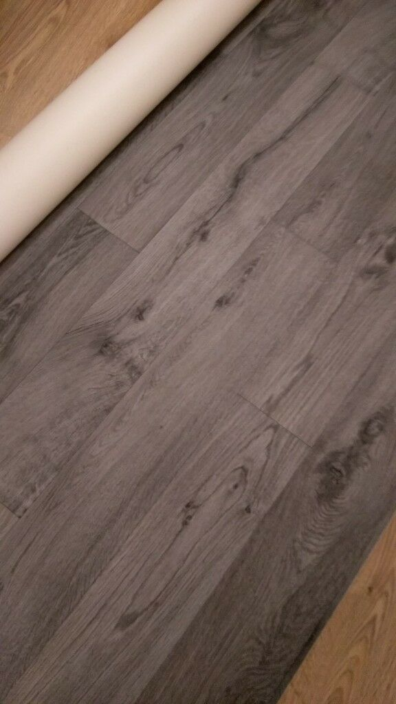 Dark Gray Wood Effect Vinyl Flooring 180 M X 2m Brand New In