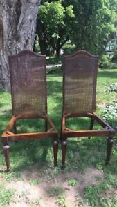 Pair of Solid Wood Cane Back Chairs