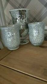 SILVER CRACKLE HURRICANE VASE & 2 SMALL ONES