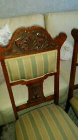 Lovely pair of Victorian Walnut high back chairs. Lovely details