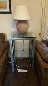 Lamp table and glass unit