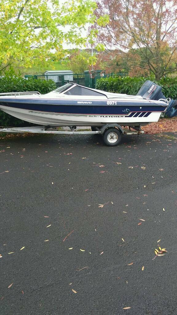 15ft Fletcher speedboat 80hp yamaha plus galvanised trailer