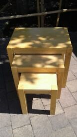 Nest of three chunky tables