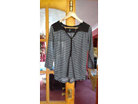 Black and White Stripy 3/4 sleeved top- H&M