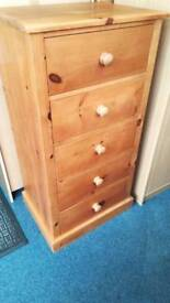 Tall Set of Pine 5 Drawers