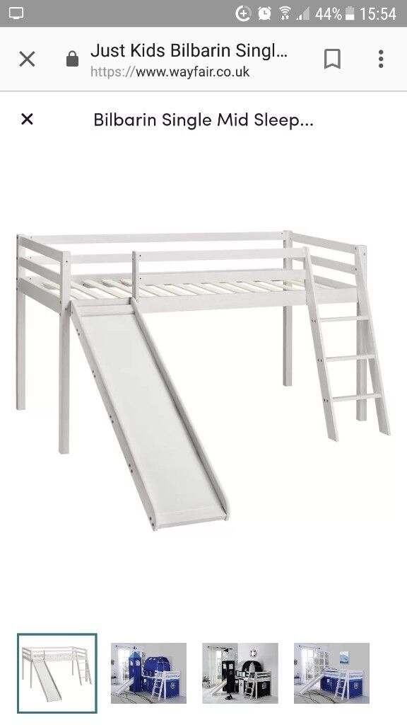 White mid sleeper bed with slide