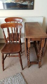Vintage / Antique Dining Table w Barley Twist Legs & Chairs