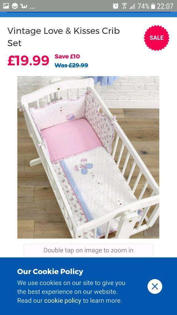 Vintage love and kisses crib bedding set