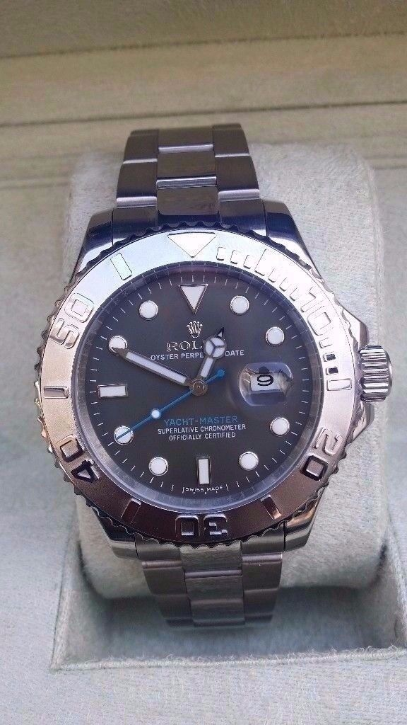 rolex yacht 2017 master rhodium face blue sweepinghand sapphire tough glass 2.5x date magnification