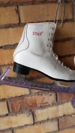 ISK8 white figure ice skates size 5