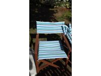 4 wooden garden chairs with fabric backing