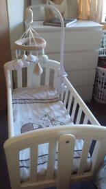 Baby crib plus musical mobile - Used still in great condition