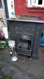 """Victorian cast iron fire place excellent condition original black size 35""""x42 restored quick sale"""