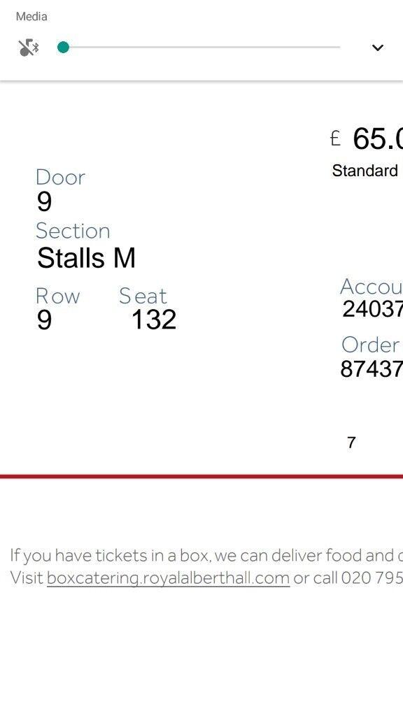 Steven Wilson 28th March Royal Albert Hall Stalls Seat