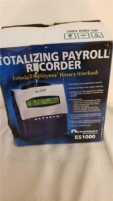Totalizing Payroll Recorder Acroprint Es1000 Time Clock Card Accurate Es 1000