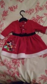 baby girl disney store minnie mouse christmas dress 3-6 months