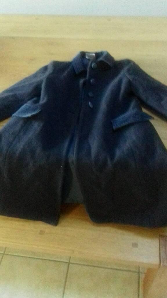 Girls navy wool laura ashley 3/4 coat