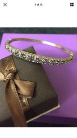 9ct Gold diamond amethyst bangle
