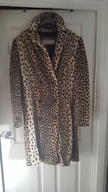 Rare Beautiful designer marlene birger leopard print size 16 coat.excellent condition,cost £500 new