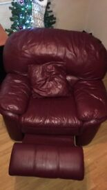 Burgundy Real Leather Sofas