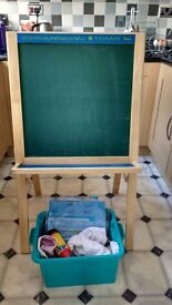 Wooden chalk and magnetic easel
