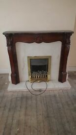 Elextric fireplace mable harth and wood surround