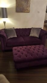 Chesterfield sofa with footstool