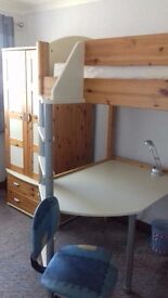 Stompa high sleeper with desk, single futon and bedroom furniture
