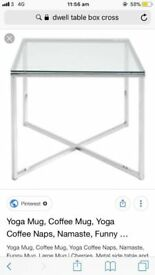 DWELL Cross leg large glass dining table