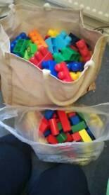 Mega bloks & wooden blocks