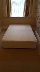 Cream fabric upholstered bed frame. FREE to collector.