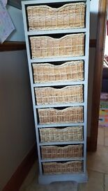 Shabby chic tallboy with 8 wicker drawers