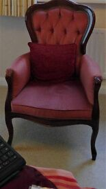 ANTIQUE VICTORIAN REPRODUCTION SPOON BACK OCCASIONAL ARMCHAIR