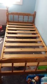 Solid pine wood single bed with mattress