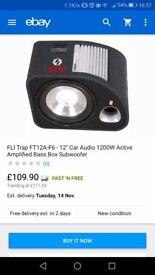 Fli 12 inch sub and parcel shelf speakers and Sony head unit