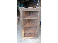 Old pine open corner cupboard for restoration