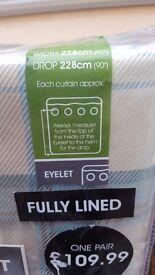 Duck Egg Check Curtains Brand New 2 Pairs