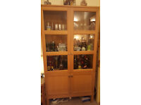 display storage unit. glass and wood