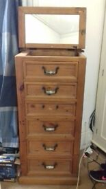 Chest of drawers and a tallboy solid oak 3 handles missing but otherwise excellent condition