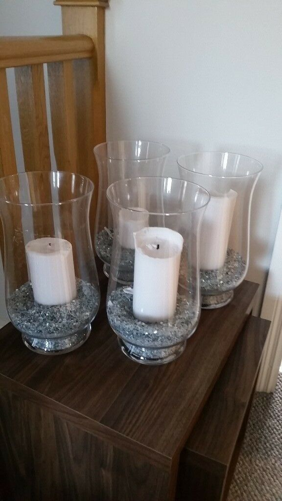 5 large glass lanterns with crystals and candles. Ideal for wedding decor