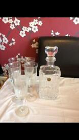 beautiful crystall decanter & 5 glasses £15
