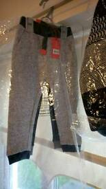 Boys knitted hooded jacket and 2 pair matching joggers bnwt