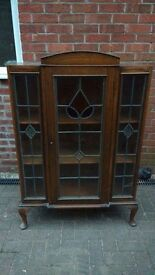 Oak display cabinet, glass fronted.