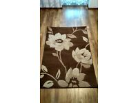 Cream and Brown flower design small carpet