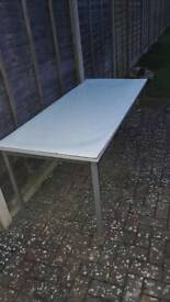 LARGE DESK TABLE (BEEN OUTDOORS, MAINLY USED FOR BBQS)