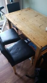 Wooden table and 4 chairs free!!