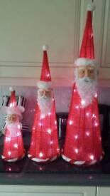 3 tall xmas santa graduated light up set..